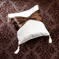 Brown Sash Satin Wedding Ring Cushion